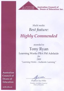 Award - Australian Council of Deans of Education 2009